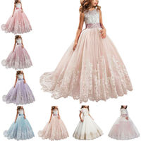 Flower Girl Princess Dress Lace Trailing Gown for Kids Party Wedding Bridesmaid Dresses Kids Formal Lace Satin Trailing