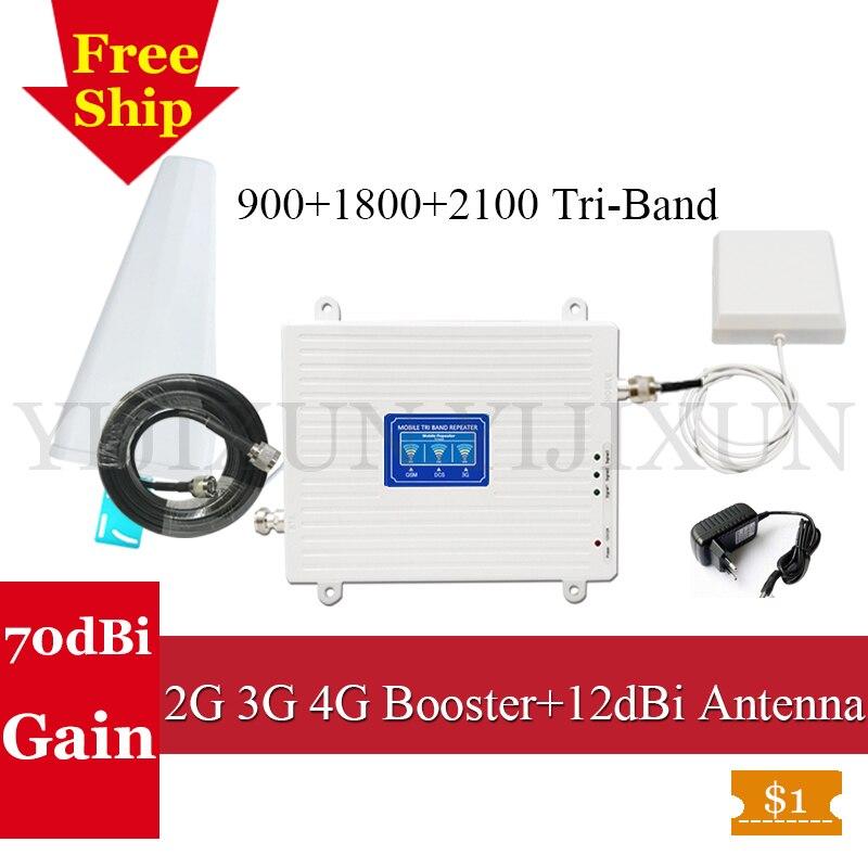 Pour La Russie 2g 3g 4g Tri Bande Signal Booster 900 1800 2100 GSM WCDMA UMTS LTE Cellulaire répéteur 900/1800/2100 mhz GSM 4G Amplificateur