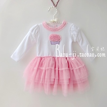 Newborn clothes dress spring 2013 layers of cake tulle female child one-piece