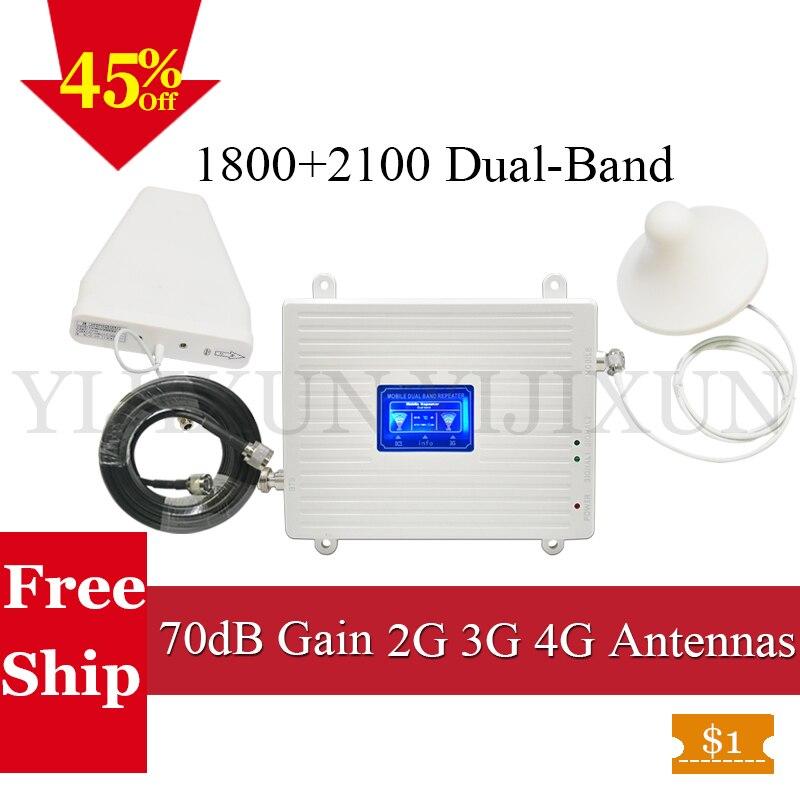 La russie 1800/2100 WCDMA LTE Celular booster 3G UMTS 2100 MHZ Signal Booster 4G LTE 180 MHZ Double Bande signal Amplificateur 3G 4G Antenne