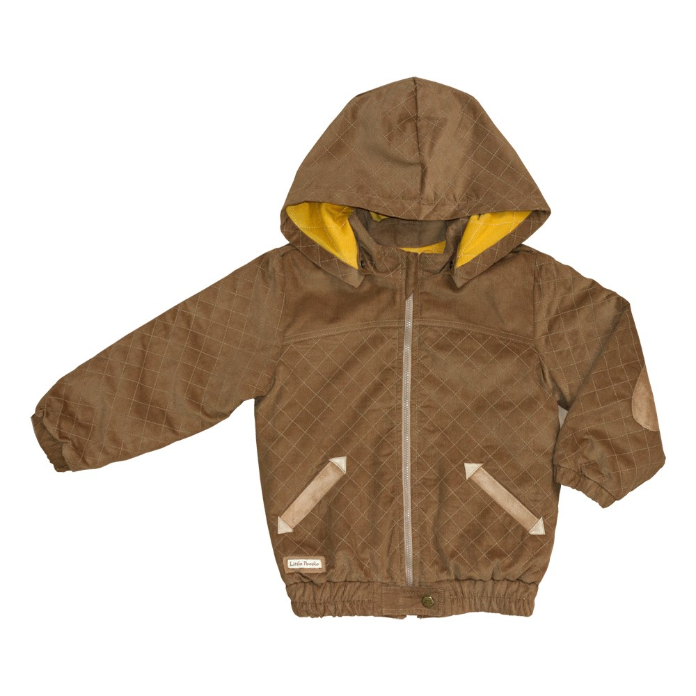 Little People Jacket corduroy sand kids clothes children clothing boys patched detail corduroy hooded jacket