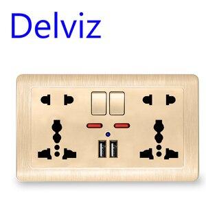 Image 3 - Delviz جدار مقبس الطاقة العالمي 5 حفرة ، 2.1A شاحن USB مزدوج ميناء ، 146 مللي متر * 86 مللي متر ، مؤشر LED ، المملكة المتحدة القياسية USB تبديل المخرج