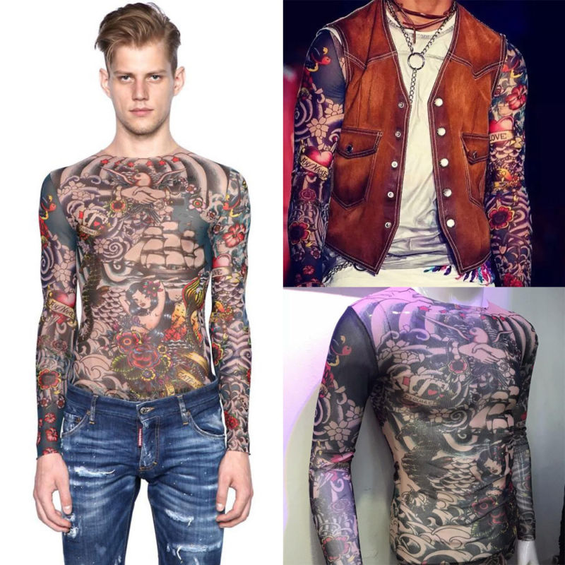 Fashion Tattoo Tops Fit Tattoo 2018 Slim Men Temporary Nylon Print Women T-Shirt Tattoo Slim Fit T-Shirt Tattoo Print Men Women