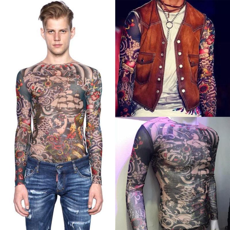 Fashion Tattoo Tops Fit Tattoo 2018 Slim Men Temporary Nylon Print Women T-Shirt Tattoo Slim Fit T-Shirt Tattoo Print Men Women