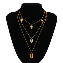 Sale Bohemia Alloy Multilayer Necklace For Women Beach Seashell Jewelry Female Long Chain Choker