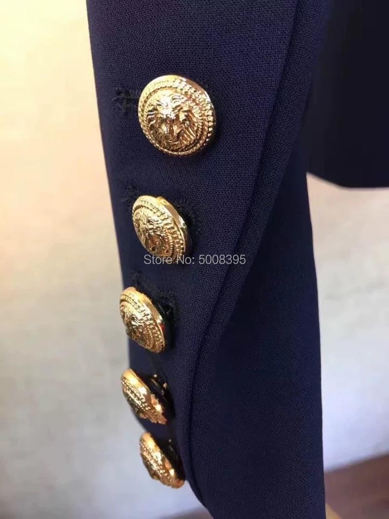 AAA الدرجة!!! البحرية الأزرق مزدوجة الصدر الذهب زرر سترة بأكمام طويلة عالية الجودة امرأة دعوى معطف 2019 جديد-في السترات من ملابس نسائية على  مجموعة 2