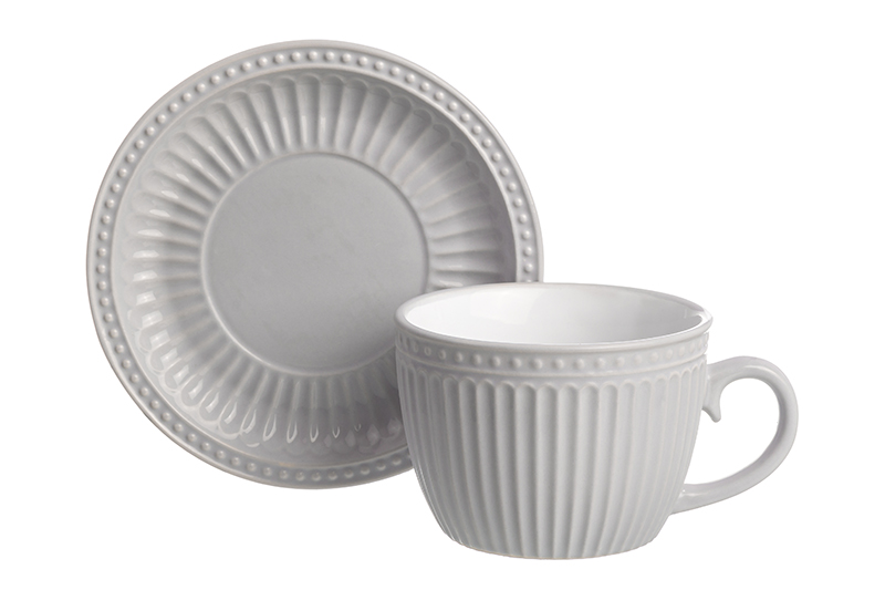 Available from 10.11 Cup with saucer for cappuccino and pastel latte gray Elan Gallery 160042 saucer state