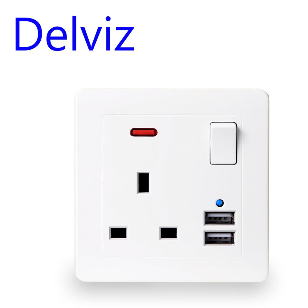 Delviz UK Standard 13A Wall Socket Panel, Gold/white Type 86 Square Hole Household, On-off Control 2.1A Dual USB 5V Charger Port