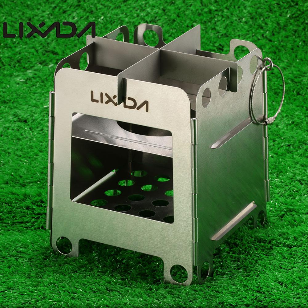 Lixada Folding Wood Stoves Pocket Stove Outdoor Camping Backpacking Portable Stainless Steel Lightweight Cooking Picnic Stove