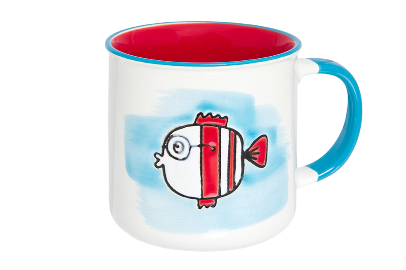 Available from 10.11 Mug Fish turquoise - red Elan Gallery 920014 lifelike soft rubber fish style fishing bait w hook white red 2 pcs 100mm