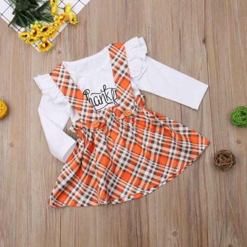 Thanksgiving Day Toddler Girls  Set Long Sleeves T-Shirt Overall Princess Dress Set