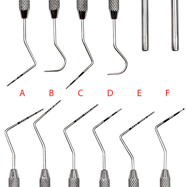 6pcs 6 Sizes Dental Stainless Steel Periodontal Probe with Scaler Oral Teeth Explorer Endodontic Instrument Contouring Tools