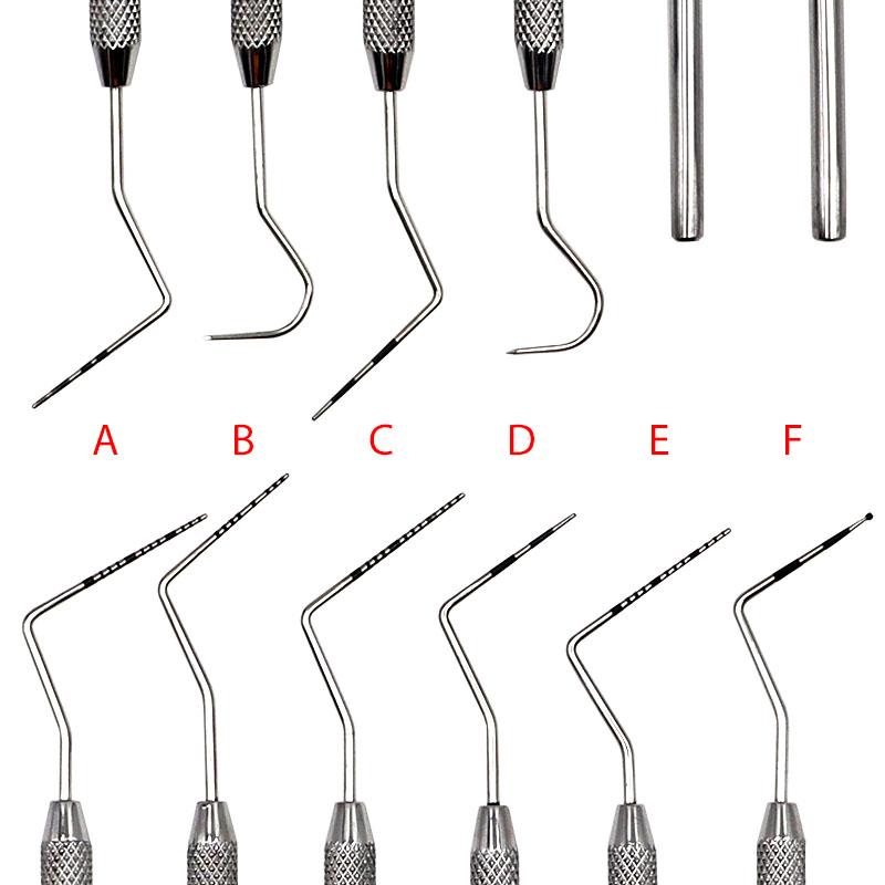 6pcs 6 Sizes Root Canal Probe Periodontal Remover Scaler Stainless Steel Oral Teeth Explorer Endodontic Contouring Tools