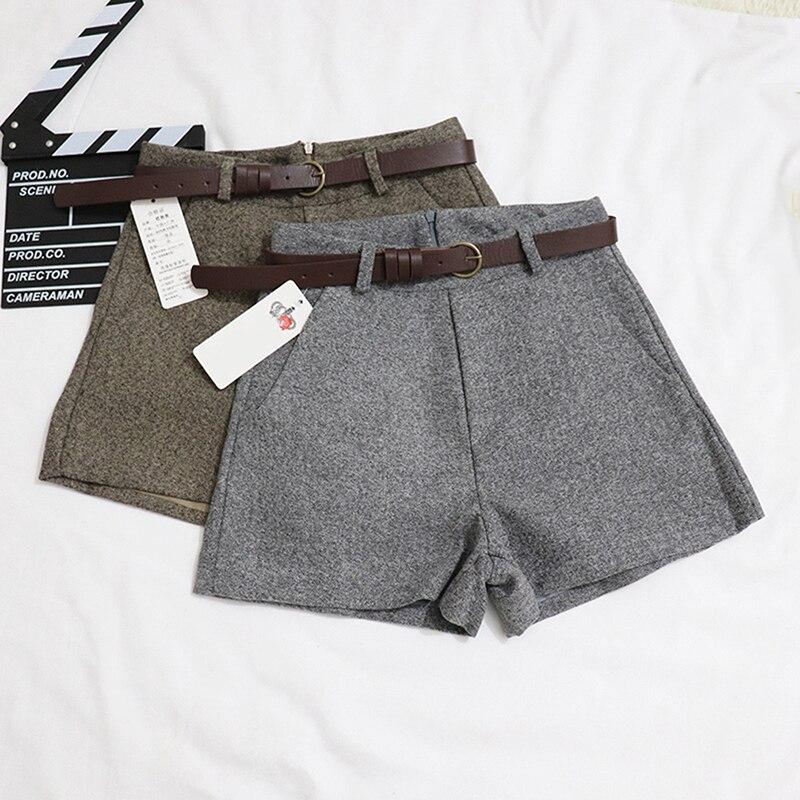 Nova Confortável E Casual Elegante Selvagem Shorts Com Cinto Calções De Lã Outono Inverno Finas calças de Pernas Largas das Mulheres A-line Shorts Bigsweety