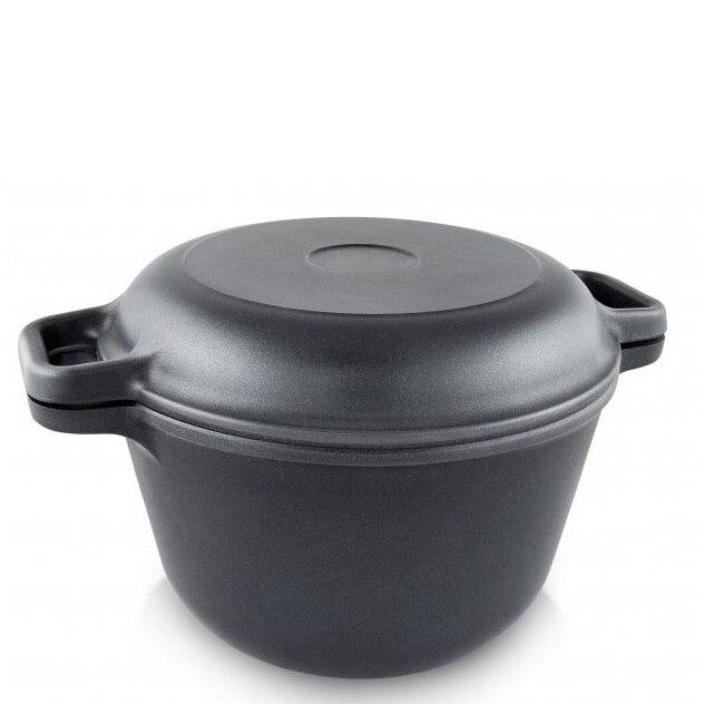 Казан Нева металл посуда, Литая, 7 л, с крышкой-сковородой