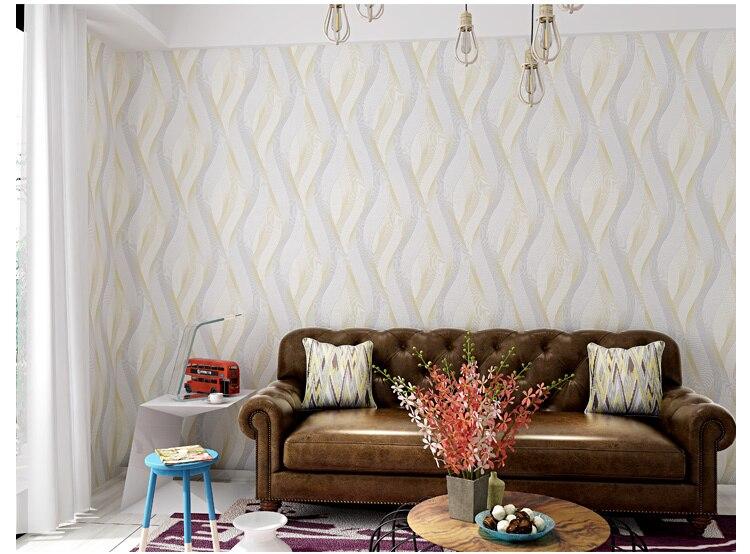 Café Pvc mode blanc argent rayé papier peint 3d moderne salon imperméable vinyle texturé rayure papier peint rouleaux - 4