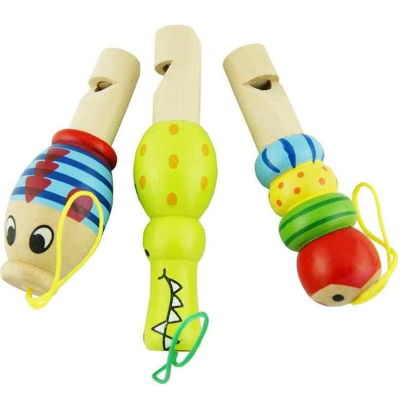 De Madera de dibujos animados de animales silbato educativo de juguete | Niños instrumento musical | juguete para bebé chico aprendizaje Montessori regalo de Navidad Color al azar