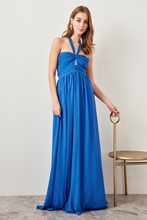 Trendyol Advanced Linking Blue Chiffon Dress TPRSS18BB0385()