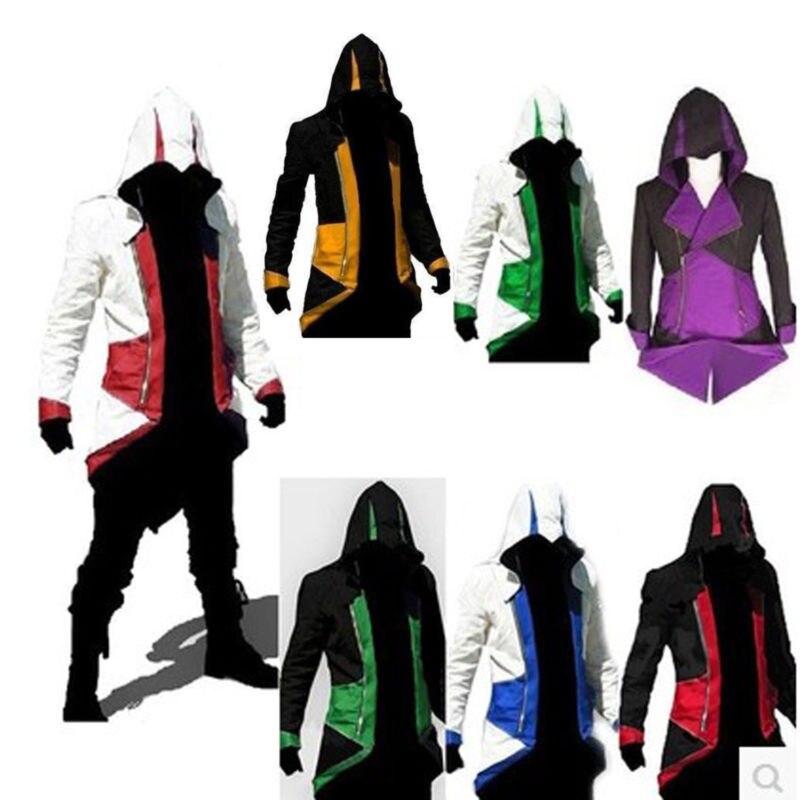 2018 Cool élégant manteau Costume ceinture lombaire chauffante hommes Cosplay pour Assassins veste 3D imprimé sweats à capuche veste manteau