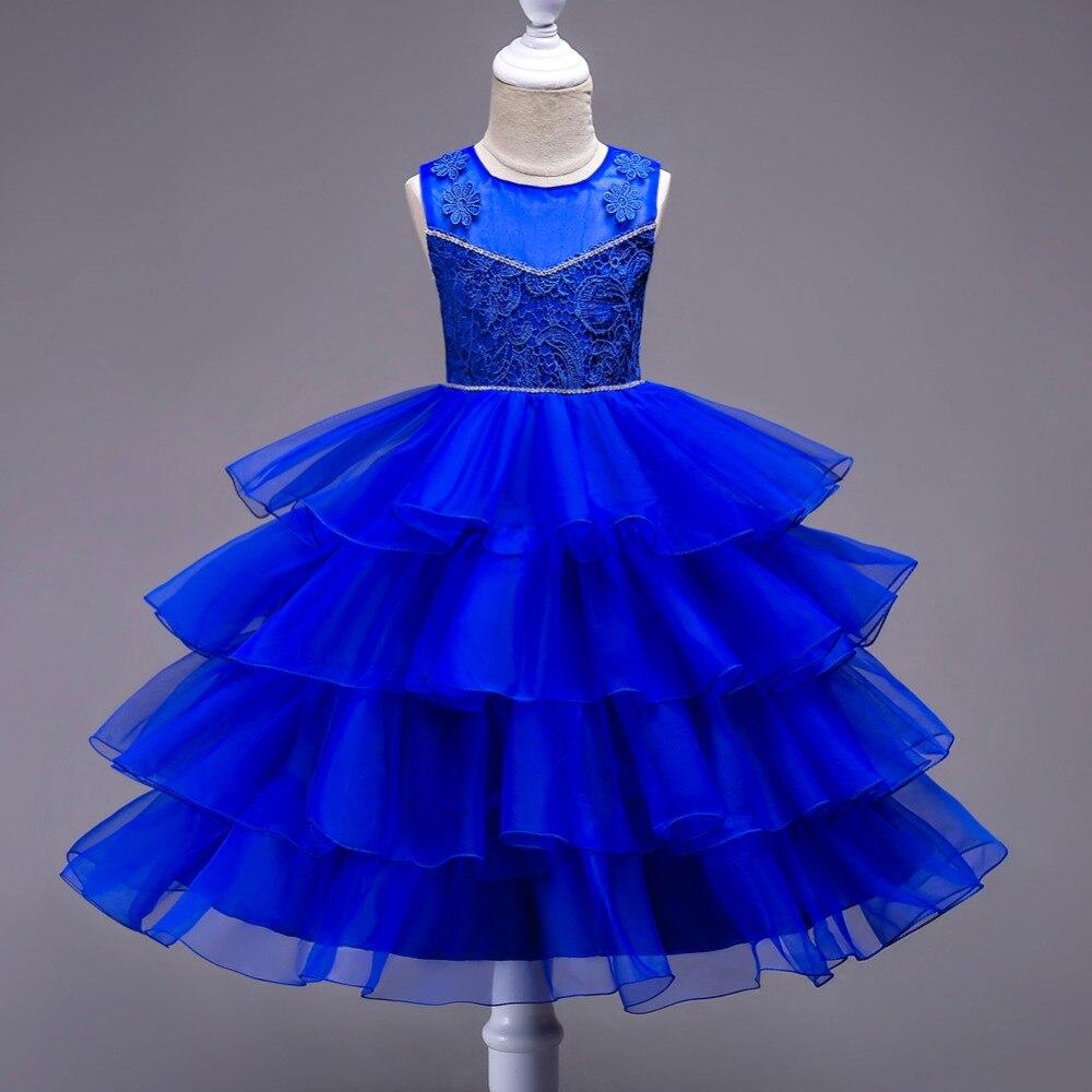 Flower Fancy Brand Children Princess Cupcake Dress With Bow Girl Wedding Dress Sleeveless Bridesmaids Dress Kids Clothes