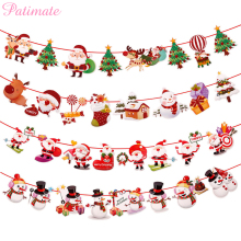 PATIMATE Christmas Theme Banner Wall Hangings Xmas Ornaments Pendant New Year Decor Merry Decorations For Home