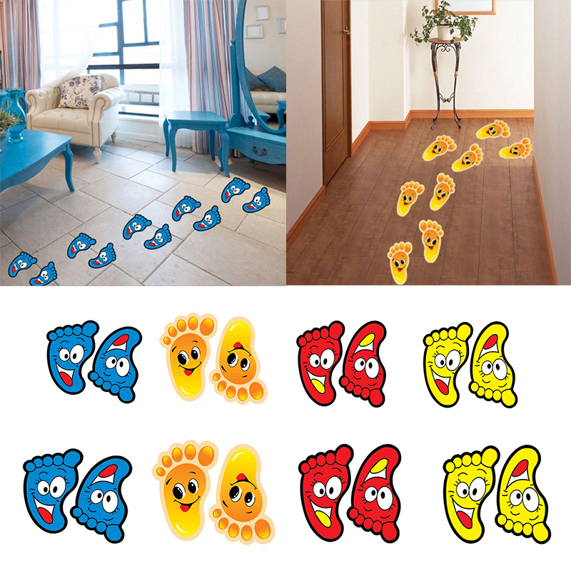 Wall-Stickers Ladder Footprints Kindergarten Home-Decoration Baby Popular Cartoon Cute