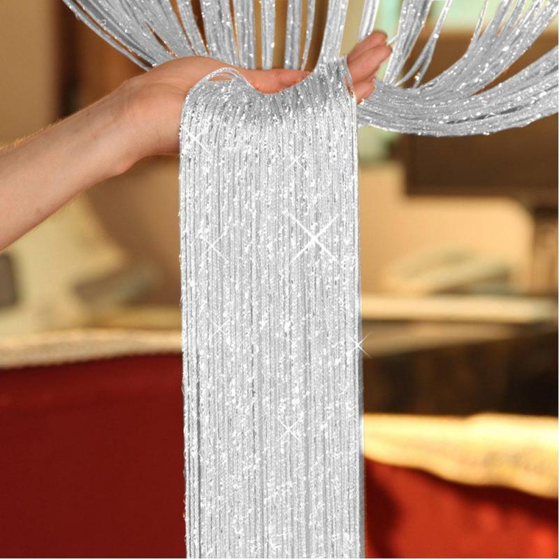 200 x100cm Shiny Tassel Flash Silver Line String Curtain Window Door Divider Sheer Curtain Valance Home Decoration 16(China)