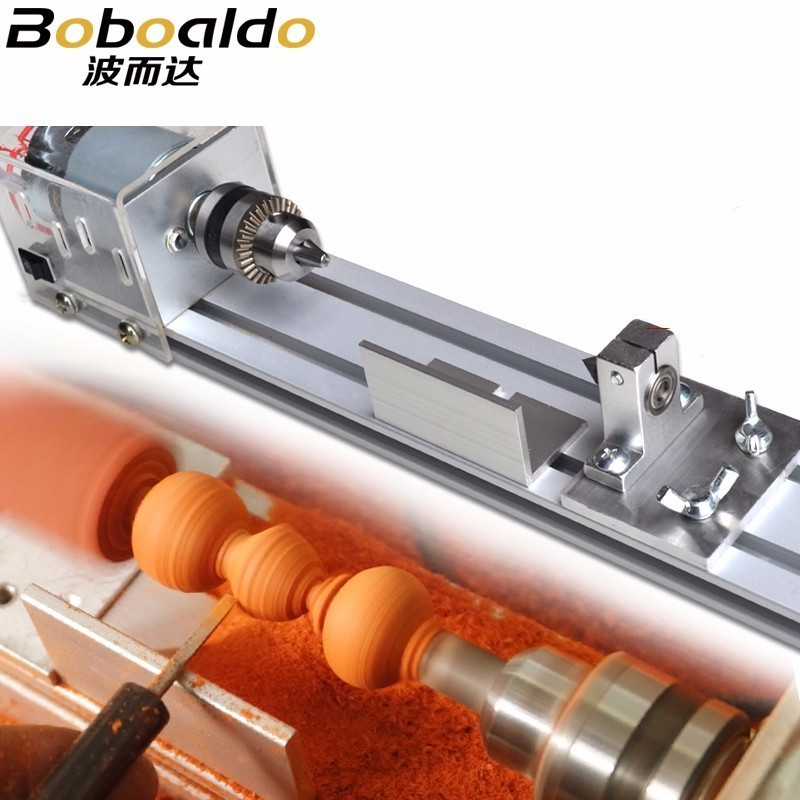 Boboaldo Mini DIY Wood Lathe Machine Polisher Table Polishing Cutting 24V Beads Machine