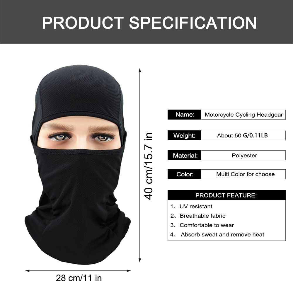 Image 2 - WOSAWE Motorcycle Balaclava Full Face Mask Breathable Airsoft Paintball Cycling Ski Shield Anti UV Men Sun Hats inside Helmet-in Protective Gears Accessories from Automobiles & Motorcycles