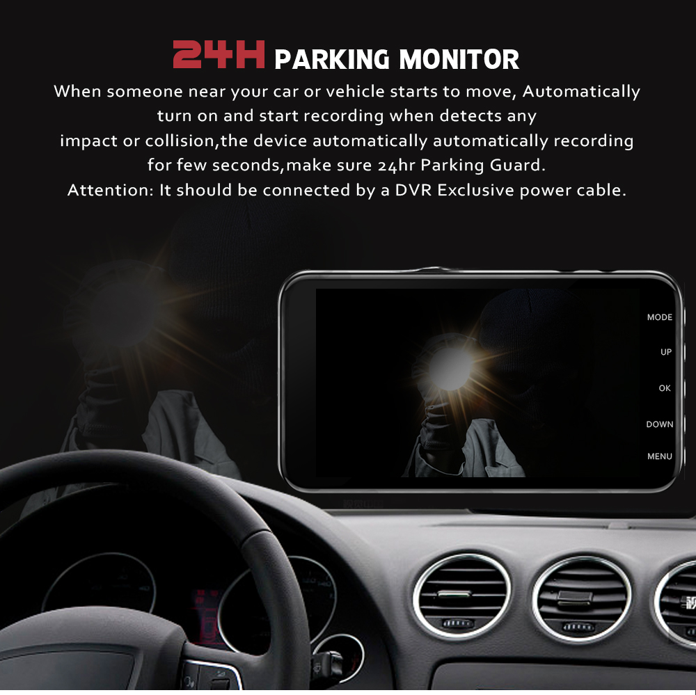 Image 2 - Car Dvr Camera 4.0 Inch Screen Full HD 1080P Dual Lens with Rear View Dashcam Auto Registrar Car Video Recorder DVRs Camcorder-in DVR/Dash Camera from Automobiles & Motorcycles