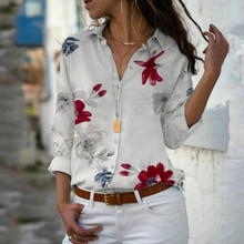 Plus Size Women Long Sleeve Floral Blouse Casual V-neck Summer Tops Women Chiffon Shirt attractive floral printed v neck long sleeve blouse for women