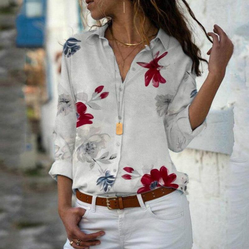 Plus Size Women Long Sleeve Floral   Blouse   Casual V-neck Summer Tops Women Chiffon   Shirt