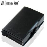 VM FASHION KISS RFID Napa Genuine Leather Double Box Aluminum Mini Wallet Security Information Credit Card Holder Metal Purse