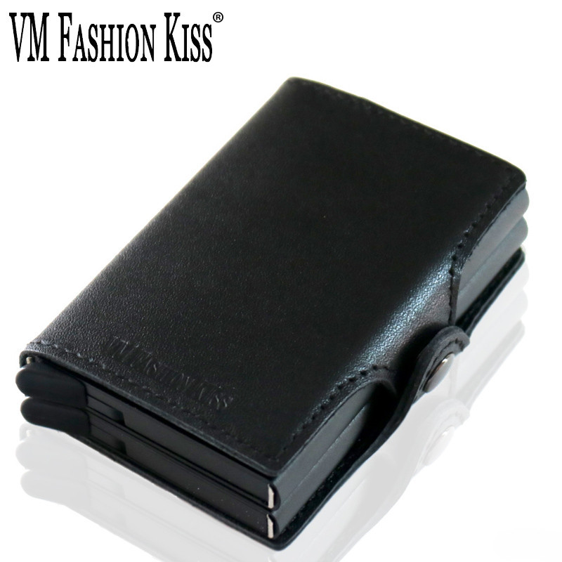 VM FASHION KISS RFID Napa Genuine Leather Double Box Aluminum Mini Wallet Security Information Credit Card Holder Metal Purse