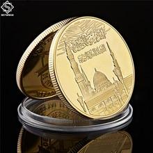 사우디 아라비아 II 이슬람 금 도금 금속 동전 이슬람 Haj 알라 Bismillah 코란 기념품 복제 동전 컬렉션