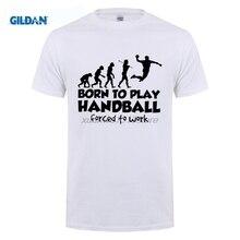 GILDAN Stylish T Shirts Handball Evolution Born To Play Forced Man O-Neck Tops Clothing Short Sleeve T-Shirt Sale Adult Men Tee