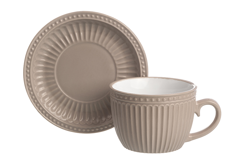 Available from 10.11 Cup with saucer for cappuccino and pastel latte Elan Gallery 160041 latte saucer state