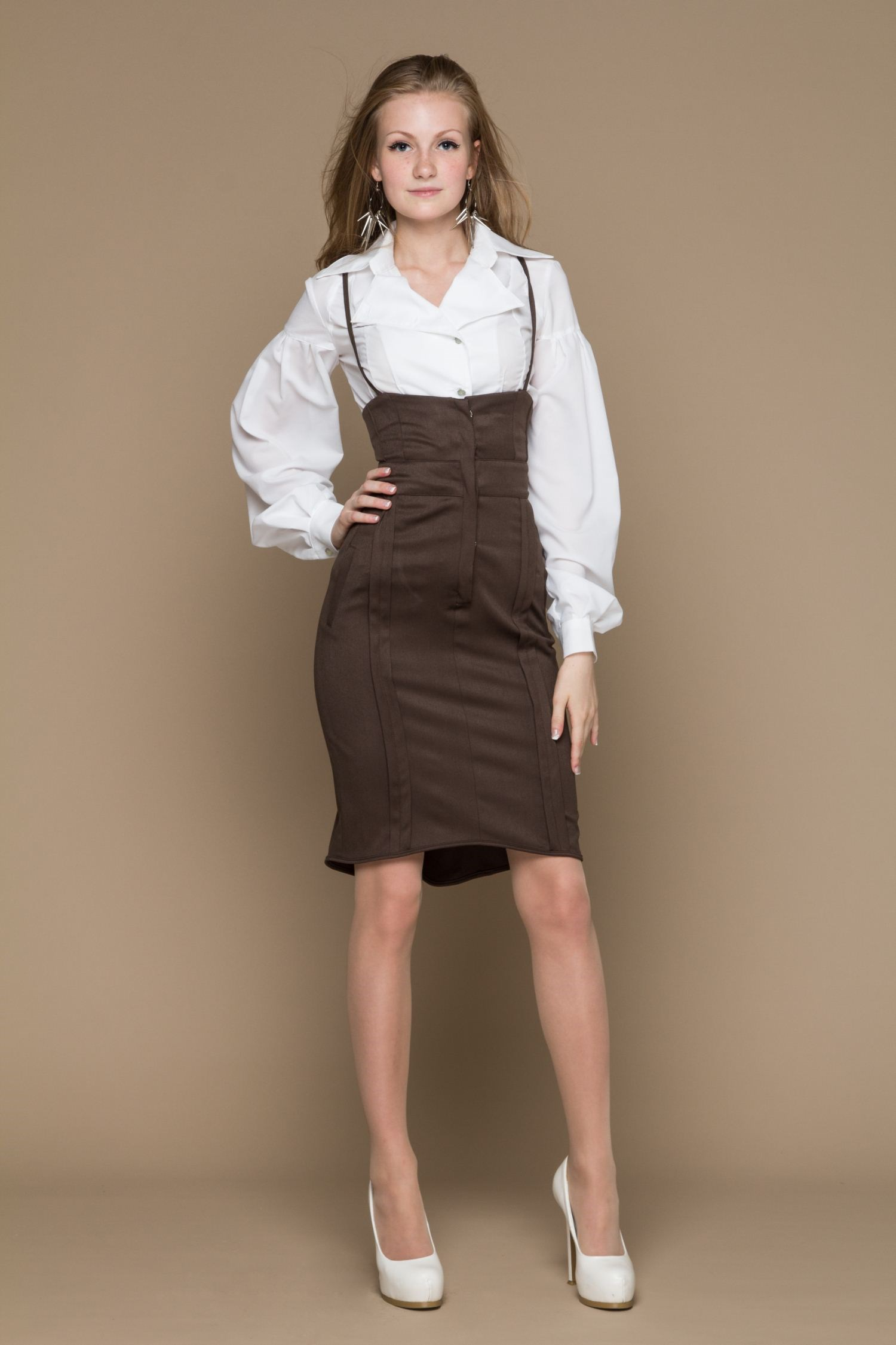 Smart skirt with high waist lace and bow back lace insert fitted faux leather skirt