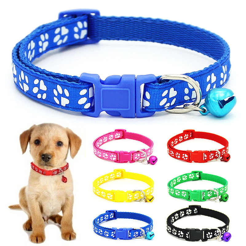 Nylon  with Bell Pet  Cute Fashion Paw  Dog Cat Puppy  Charm Adjustable Lovely Safety Collars 1PC New Buckle