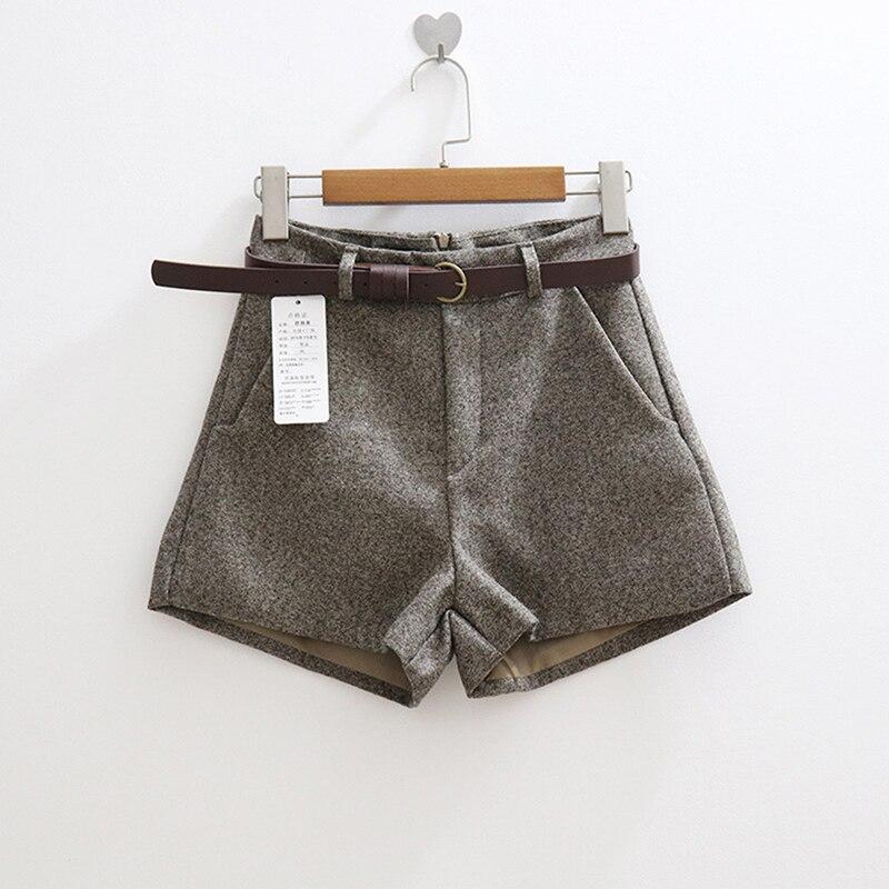 New Casual Comfortable Elegant Wild Shorts With Belt Women s Woolen Shorts Autumn Winter Slim Wide