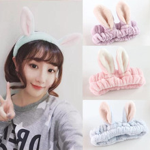 Fashion Cute 3D Wash Face Women Headband Towel Girls Makeup Rabbit Ears Wide brimmed Hair Band