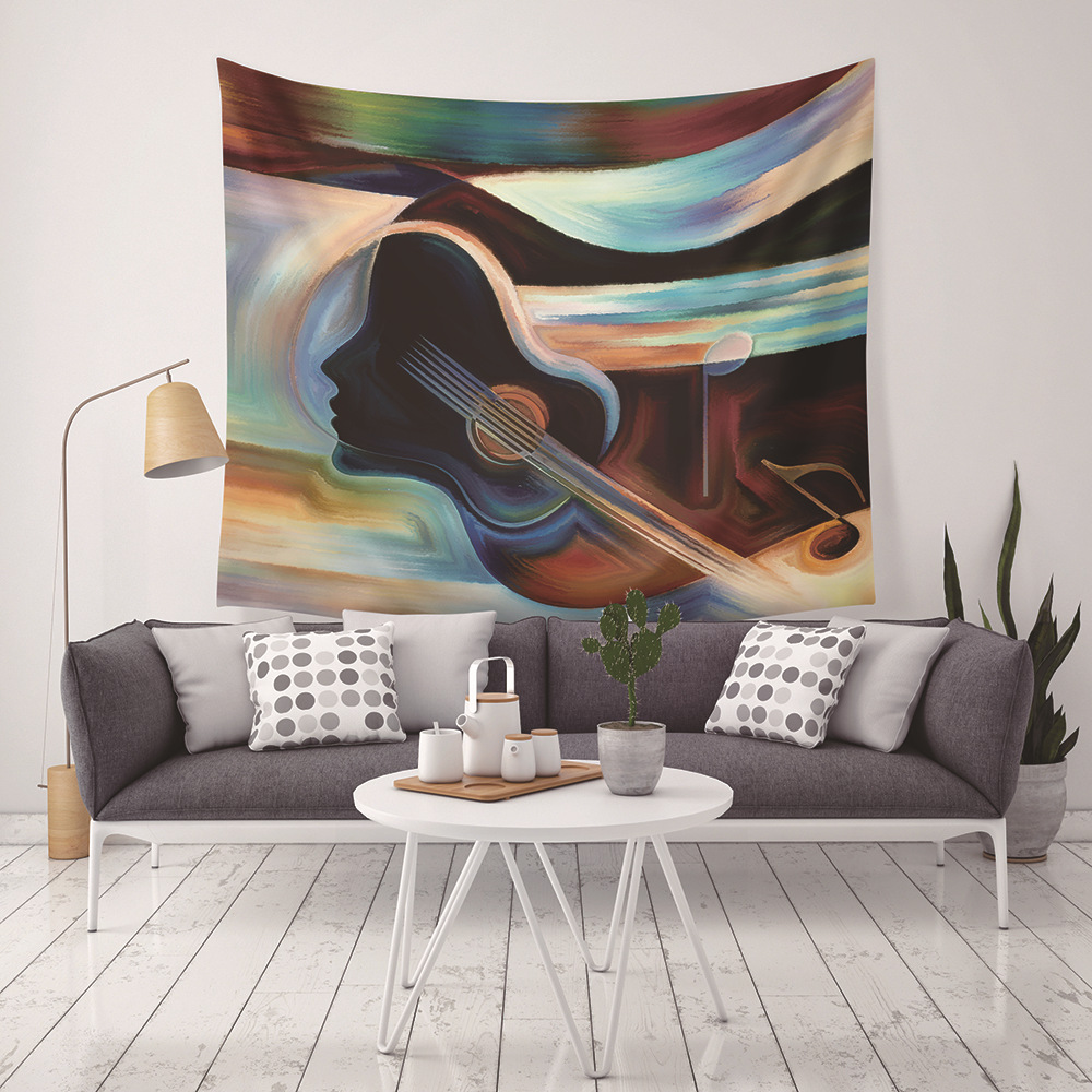 Loartee Modern Abstract Guitar Girl Music Wizard Tapestry Boho Décor Hippie Wall Hanging Decoration Tenture Mural Wandkleed image