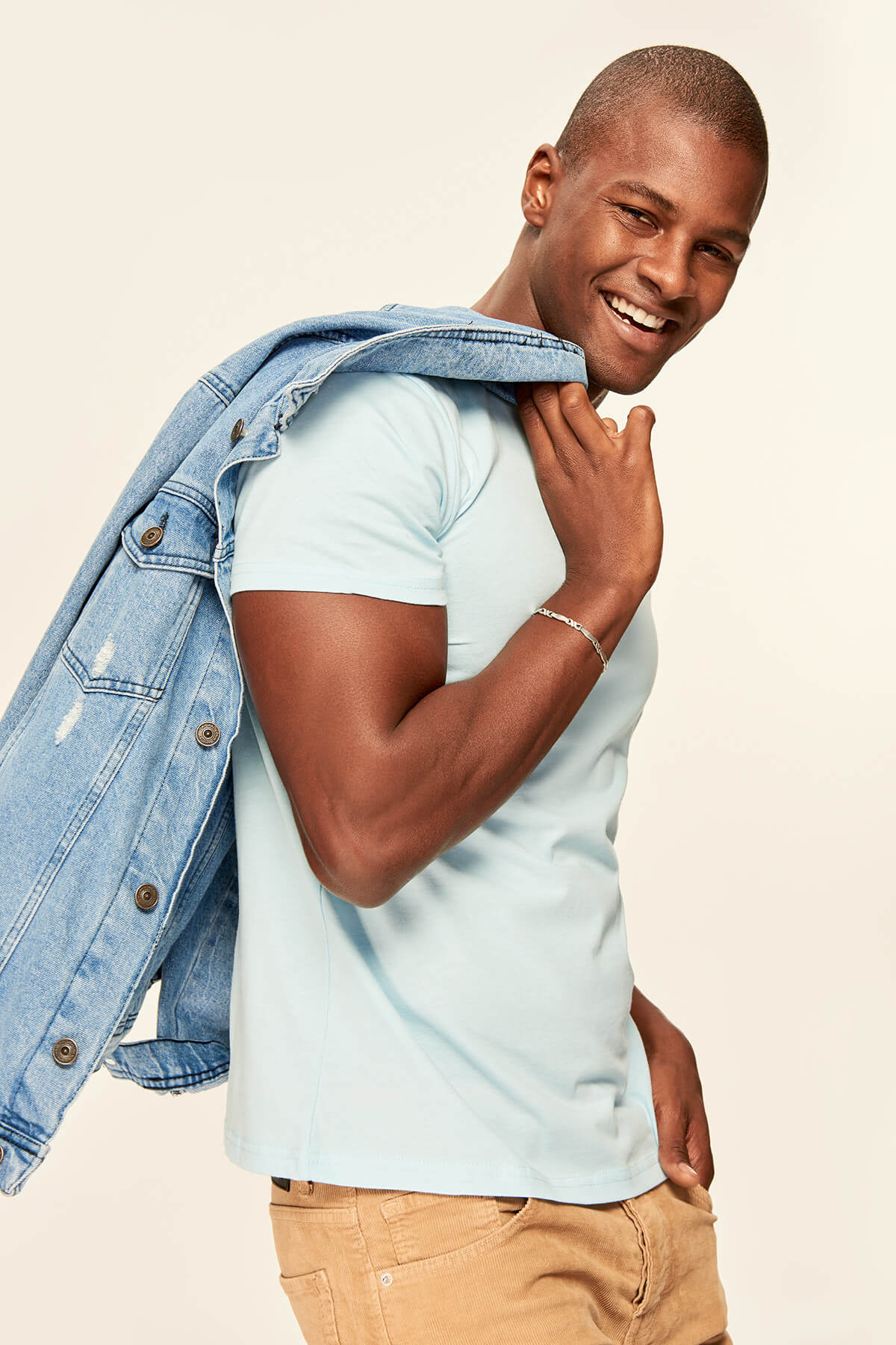 Trendyol T Shirt homme bleu presseur coton cou manches courtes TMNSS19BO0001 T-shirts    - AliExpress
