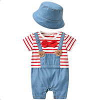 Baby Onesies Summer Hat + Romper Hipsters Korean Version of The Cotton Short sleeved Denim Outwear Infant Clothes Baby Dress