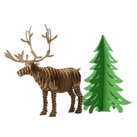 Christmas Tree Reindeer Fun 3D Puzzle DIY Corrugated Paper Model Kits Toy Children Educational Boy Splicing Hobby Building Cool