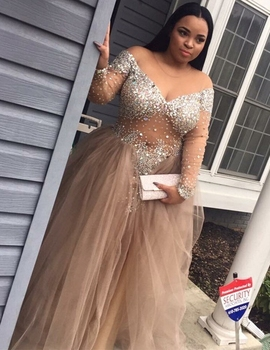 African Champagne Plus Size Prom Dresses 2019 vestidos de fiesta largos elegantes de gala Long Sleeve Imported Party Dress 3