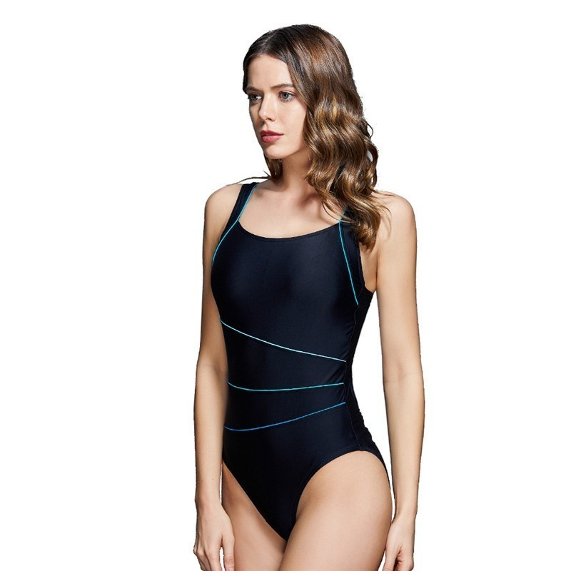 2019 New Conservative Professional Swimwear Womens One Piece Swimsuit Strip Beach Bathing Swimming Suit Bikini Maillot De Bain in Body Suits from Sports Entertainment