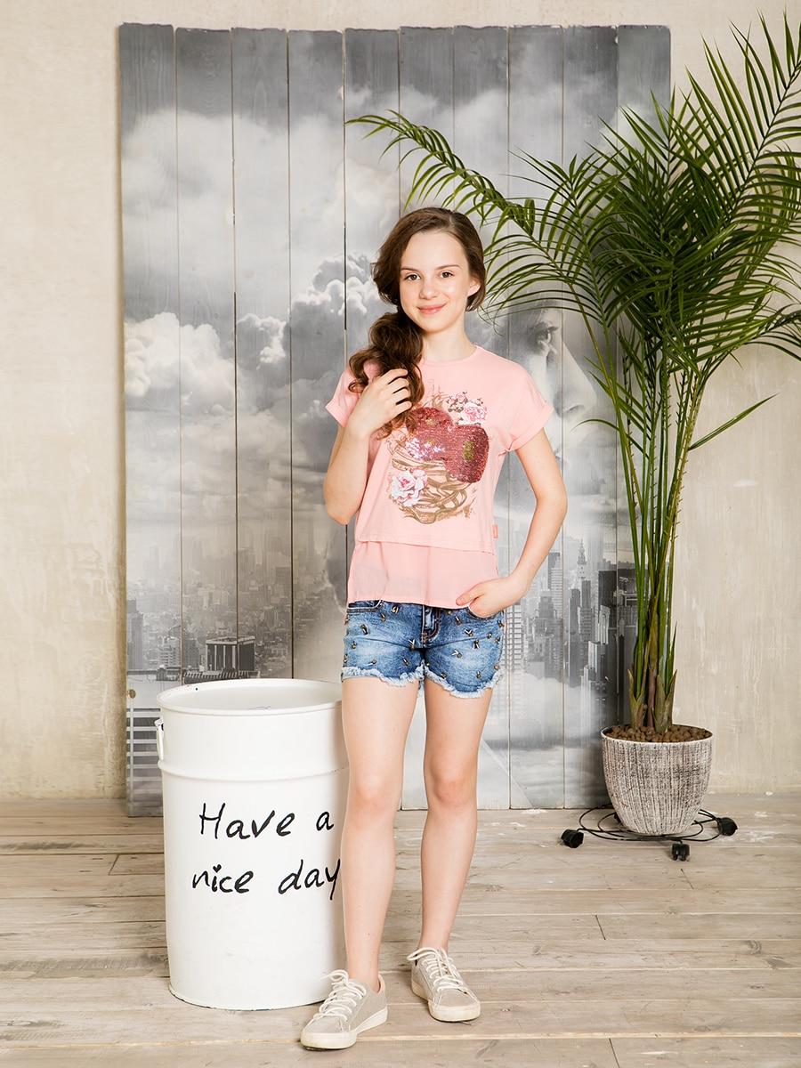Denim shorts for girls girls seam detail denim blouse with shorts