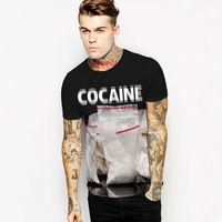 Sleeve Short Casual New Womens/Mens Fashion Print New Fashion Womens/Mens Cocaine 3D Graphic Print Short Sleeve Casual T Shirt