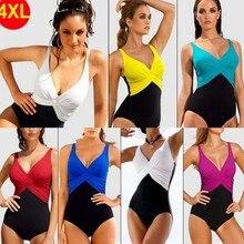цена Swimwear Women One Piece 2019 M-4XL Plus Size Swimsuit Push Up Bikini Girl Bathing Suit Big Cup Swim Suit Tankini Beach Dress онлайн в 2017 году
